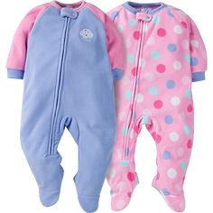Sweet baby girl will sleep soundly with this 2-pack of micro fleece blanket  sleepers 0cc96fba2