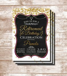 Elegant but fun Retirement Party and/or Birthday Party invitations that feature a gold confetti background and chalkboard frame with glittery accents. Colors can be changed by request. Retirement Party Invitations, Retirement & Birthday Party Invitations, Birthday Party Invitations, Retirement Invitations, Digital Printable, png, pdf, jpg, retirement invite, retirement party, retirement birthday, birthday party, birthday invitation, confetti, surprise party, surprise invitation.