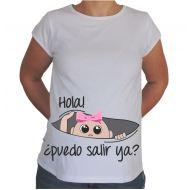 Camiseta divertida embarazada ''Puedo salir ya'' chica.