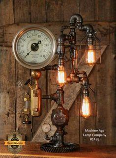 Steampunk Industrial / Steam Gauge Lamp / Ohio / Oiler #1428