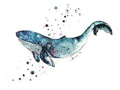 Art Print Watercolor Blue Whale, Home Decor, Ocean Art Print, Sea Life Print, Wall Art print, Illustration