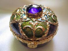 Byzantine Blue and Quatrefoil Hand Painted Porcelain Box by VioMar, £30.00