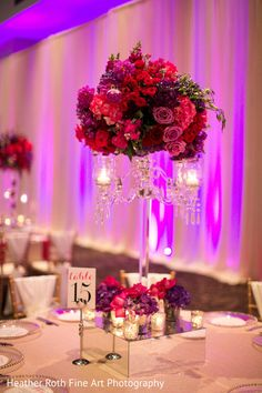 Red and purple tall centrepiece