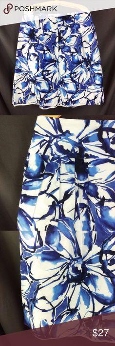 "Banana Republic Floral Skirt Silk Blend Sz 4 Banana Republic Blue Painted Flower Skirt   70% Cotton, 30% Silk  Pleated front, zipper and clasp closure  Eggshell white, 100% Cotton lining.   Size 4  Waist - 15"" across Width at hips (3"" below waist) - 17"" across Length - 22"" from top of waist to bottom hem  Bottom hem - 25.5"" across Excellent condition. Smoke free. GT2 Banana Republic Skirts"