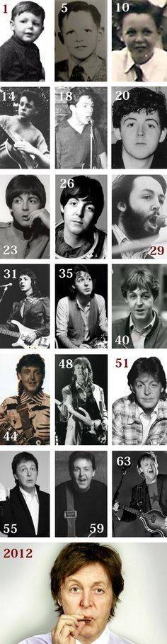 """Paul McCartney calendar ~ life in pictures."" -- the one labeled ""26"" was actually taken in 1965 when he was 23....if it is true that he was replaced in late 1966, as many believe, then all of the photos from ""29"" on are of the replacement Paul.... #Beatles"