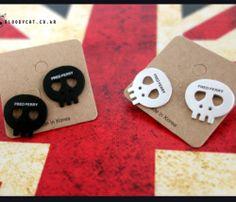 Bloodycat Flat Black Metal Silver Goth Punk Cute Skull Piercing Earring Unisex