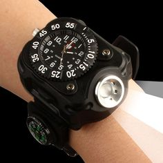 Rechargeable LED Watch Flashlight Tactical Compass multifunctional outdoor sports flashligh Waterproof Wrist Portable Lighting