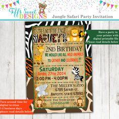 Jungle Birthday Invitation Safari Birthday by TiffsSweetDesigns