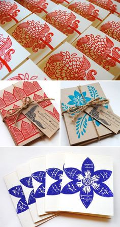 Katharine Watson takes inspiration from traditional Indian textiles and folk arts to create textiles, journals, and block printed cards that feature wonderfully detailed ornament and pattern in vib. Stamp Printing, Printing On Fabric, Screen Printing, Diy Stamps, Stencil, Stamp Carving, Handmade Tags, Linocut Prints, Fabric Painting