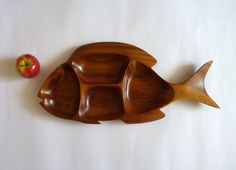 Large 1970s wooden hand crafted four section fish shaped dish by FoxandThomas perfect for mid century entertaining!