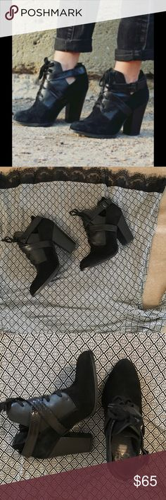 Gianni Binni leather suede crisscross tie up boot Super cute booties black with crisscross leather straps and tie up laces perfect for the season wear them with your skinnies ,leggings or skirts very comfy Gianni Bini Shoes Ankle Boots & Booties