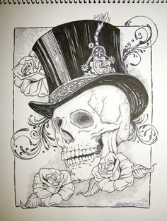 Top hat, skull & roses - Pen & Ink by Wendell Cisco II