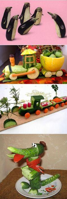 adalin.mospsy.ru Vegetable Animals, Fruit Animals, Fruit Decorations, Food Decoration, Veggie Display, Fruit Sculptures, Fruit Crafts, Fingerfood Party, Food Carving