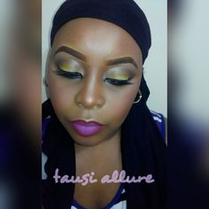 Yellow eye look with ombre lip