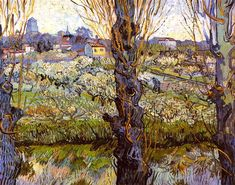 Orchard in Bloom with Poplars, 1889, Vincent van Gogh Medium: oil on canvas