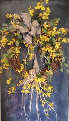 Forsythia wreath - Wreath Great for All Year Round - Everyday Burlap Wreath, Door Wreath, Front Door Wreath, wedding, forsythia by FarmHouseFloraLs on Etsy Summer Door Wreaths, Holiday Wreaths, Wreaths For Front Door, Spring Wreaths, Winter Wreaths, Forsythia Wreath, Grapevine Wreath, Burlap Wreaths, Burlap Ribbon