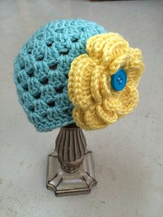 Girls Hat Teal and Yellow Hat Hat Baby Girl Hat by 224Locust