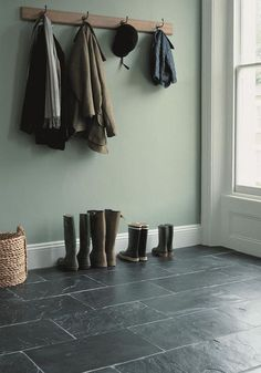 Soft green walls w/ silver blue slate.... This is my second favorite. Would want dark grout though, not white.