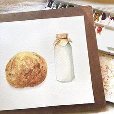 大波蘿 + 小牛奶 菠蘿麵包榮登今年大魔王,我真的快被打敗了 #watercolor#illustration#illustrator#winsorandnewton#paint#painting#draw#drawing#art#artwork#artist#bread#水彩#插畫#雪莉畫日誌#麵包#dessert#milk#milkbottle#pan#taiwan