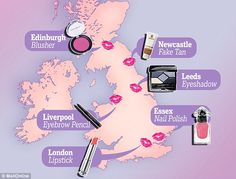 Trend-setters: The top beauty products in six different regions across the UK...  Daniel Sandler Watercolour™ Crème Rouge Hot Pink blush make the list