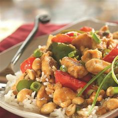 KUNG PAO CHICHEN Ingredients 1 pound boneless, skinless chicken breasts, cut into pieces 1 tablespoon cornstarch 3 tablespoons Crisco® Pure Peanut Oil, divided Great Recipes, Dinner Recipes, Favorite Recipes, Dinner Ideas, Yummy Recipes, Food Dishes, Main Dishes, Asian Recipes, Ethnic Recipes