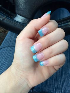 Blue glitter acrylic nails| French tip nails| acrylic nails| glitter| light blue| short nails| cute