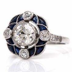Antique Art Deco 2.55cts Diamond Sapphire Platinum Engagement Ring