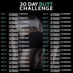 30 Day Butt Challenge - Fitness Training Workout Squat Lunges Ab