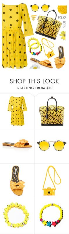 """So Dotty: Polka Dots"" by samra-bv ❤ liked on Polyvore featuring Boutique Moschino, Louis Vuitton, Tabitha Simmons, Krewe, Moschino and Illamasqua"