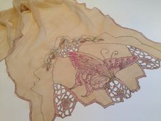 Art Nouveau 1910-20'S Gorgeous Silk Chiffon Scarf with Handpainted Butterflies and Cutouts