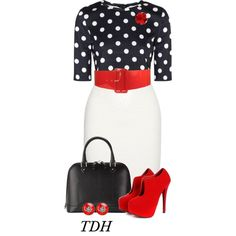 """""""Red & Polka Dot"""" by talvadh on Polyvore"""