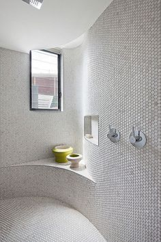 House by BG Architecture Penny Rounds have the installation versatility for uniquely designed rooms. Rostill House by BG ArchitecturePenny Rounds have the installation versatility for uniquely designed rooms. Rostill House by BG Architecture Bad Inspiration, Decoration Inspiration, Bathroom Inspiration, Small Bathroom Tiles, Modern Bathroom, Shower Bathroom, Washroom, Penny Tile Bathrooms, Bathroom Ideas
