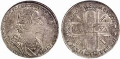 Rouble. Russian Coins. Peter I. 1689-1725. 1724 OK. Bit 958. R! EF. Price realized 2011: 3.200 USD.