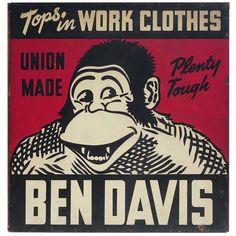 Ben Davis Work Clothes Painted Sign - US 1935