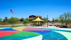 Colorful #splashpad and #playground for the #kids!