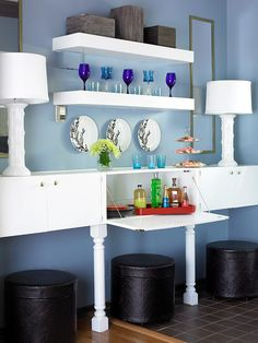 Sideboard Storage for dining room - Mount cabinets to the wall to store entertainment supplies and include a drop-down door to serve as a bar extension. Install floating shelves above the cabinets for stemware and accessory display Dining Room Storage, Wall Storage, Bedroom Storage, Diy Storage, Storage Ideas, Stock Cabinets, Kitchen Cabinets, Shabby, Stylish Bedroom