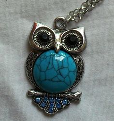 owl jewelry blue diamond big eyes silver color owl necklace