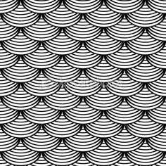 "Seamless geometric pattern in ""fish scale"" design."