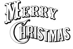 """""""Merry Christmas"""" black & white image, created from a Currier & Ives lithograph.  Would be great to print & color (could get 2 to a standard sheet of paper)."""