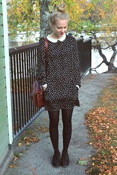 Milja of henkarillinenhattaraa blogspot. black dotted dress with pockets and white collar.