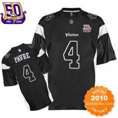 25.00 50Th NFL Jersey Minnesota Vikings Brett Favre  4 Black 4cad40458