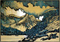 """""""Foel Goch, Llyn Idwal and Clouds"""" 2011, linocut by Ian Phillips. http://www.reliefprint.co.uk/ Tags: Linocut, Cut, Print, Linoleum, Lino, Carving, Block, Woodcut, Helen Elstone, Wales, Welsh, Cymru, Landscape, Rocks, Boulders, Hills, Trees."""