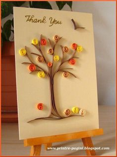 Fall tree created with quilling. Paper Quilling Flowers, Paper Quilling Cards, Quilling Work, Paper Quilling Patterns, Quilled Paper Art, Quilling Paper Craft, Paper Crafts, Paper Patterns, Origami
