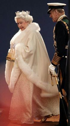 Queen Elizabeth II of Great Britain & Prince Philip go to the Opening of Parliament