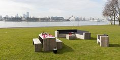 Picknickset, Loungebank XL, Bloktafel en Blokstoel!