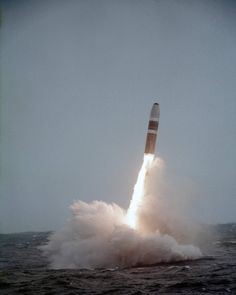 USS Mariano G. Vallejo (SSBN-658). A C-4 Posideon missile clears the water during demonstration and shakedown launch from the nuclear-powered strategic missile submarine USS Mariano G. Vallejo in mid - 1976.