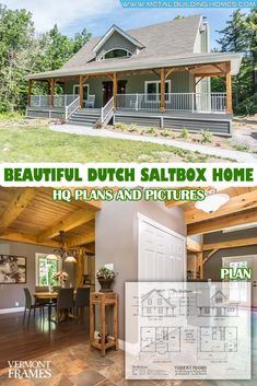 Beautiful Dutch Saltbox Home w/ 3 Bedrooms. Due to high demand of cheap homes we. Cheap Houses To Build, Cheap House Plans, Porch House Plans, Pole Barn House Plans, Pole Barn Homes, Small House Plans, House Floor Plans, Saltbox Houses, House Siding