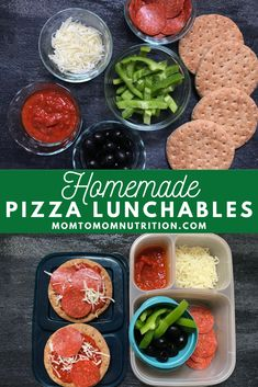 Homemade pizza lunchables bring the best of both worlds to your child's lunchbox: PIZZA and fun! Packed with simple ingredients that are good for you and customizable as well! Healthy Pizza, Good Healthy Recipes, Baby Food Recipes, Toddler Recipes, Toddler Meals, Healthy Food, Pizza Pasta Bake, Nutrition Articles, Kid Friendly Meals