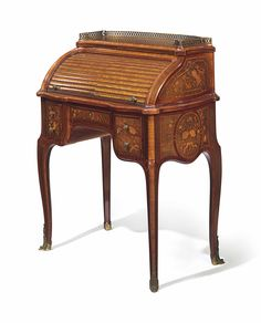 A FRENCH ORMOLU-MOUNTED TULIPWOOD, HAREWOOD AND MARQUETRY BUREAU A CYLINDRE - AFTER THE MODEL BY JEAN-FRANÇOIS OEBEN, BY FRANÇOIS LINKE, INDEX NO. 1626, PARIS, LATE 19TH/EARLY 20TH CENTURY.