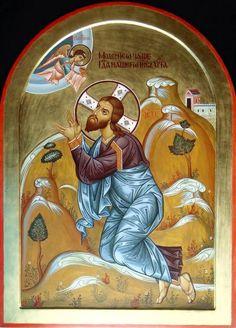Christ in the Garden of Gethsemane Religious Images, Religious Icons, Religious Art, Byzantine Icons, Byzantine Art, Roman Church, Christian Artwork, Holy Week, Orthodox Icons